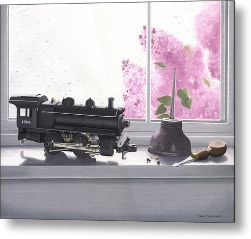 Lionel Metal Print featuring the painting Spring Rain Electric Train by Gary Giacomelli