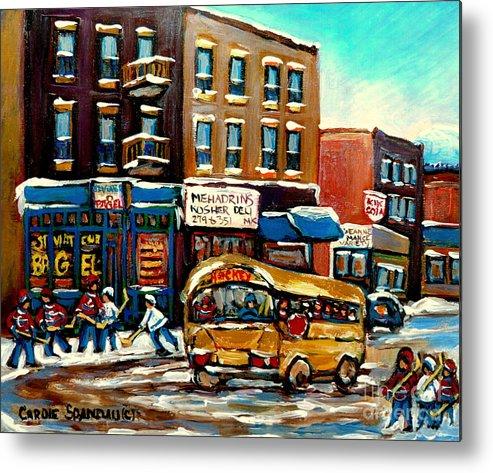 St. Viateur Bagel With Hockey Bus Metal Print featuring the painting St. Viateur Bagel With Hockey Bus by Carole Spandau