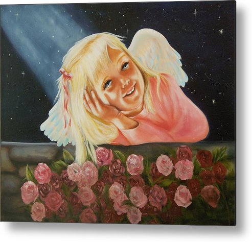Angel Metal Print featuring the painting Starlight Angel by Joni McPherson