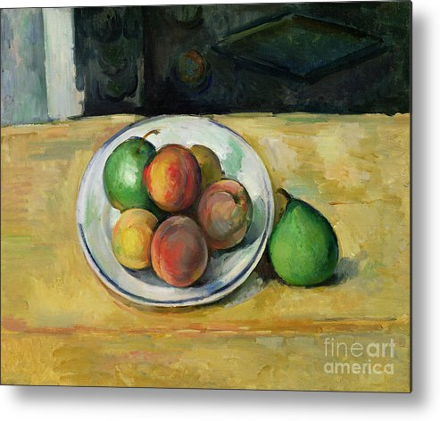 Still Metal Print featuring the painting Still Life With A Peach And Two Green Pears by Paul Cezanne
