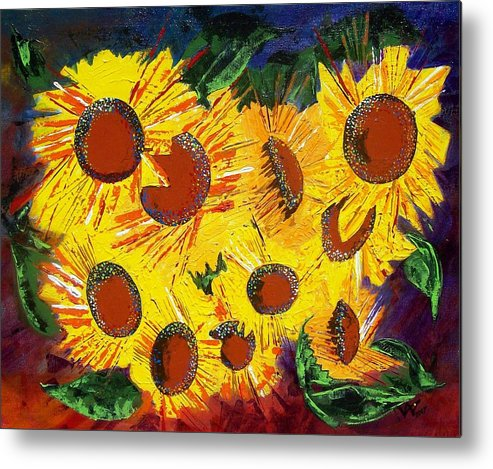 Sunflowers Metal Print featuring the painting Sunflowers II by Valerie Wolf