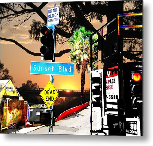 A Sunset With Combination With Sunset Blvd Metal Print featuring the digital art Sunset Blvd Meets Sunset by Maria Kobalyan