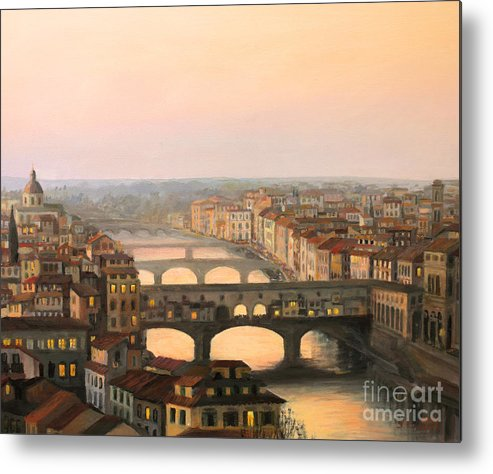 Ancient Metal Print featuring the painting Sunset Over Ponte Vecchio In Florence by Kiril Stanchev