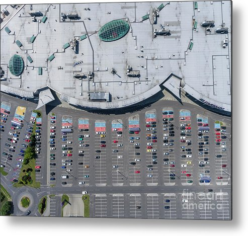 Above Metal Print featuring the photograph Supermarket Roof And Many Cars In Parking, Viewed From Above. by Mariusz Prusaczyk