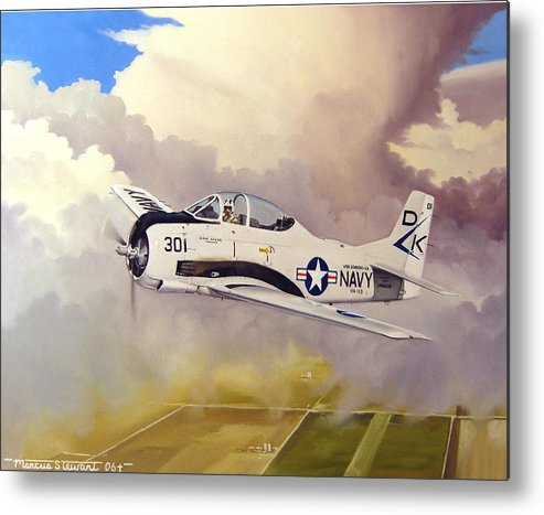 Military Metal Print featuring the painting T-28 Over Iowa by Marc Stewart