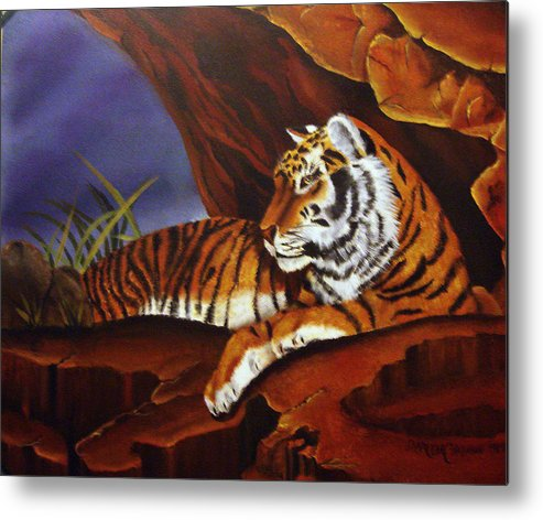 Tiger Metal Print featuring the painting Taking Cover by Darlene Green