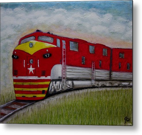 Texas Special Train Locomotive Rail Road Passenger Train Freight Train Landscape Metal Print featuring the painting Texas Special by Jimmy Carender