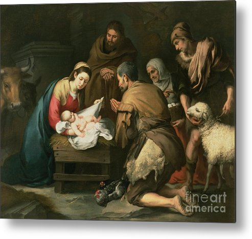 Adoration Metal Print featuring the painting The Adoration Of The Shepherds by Bartolome Esteban Murillo