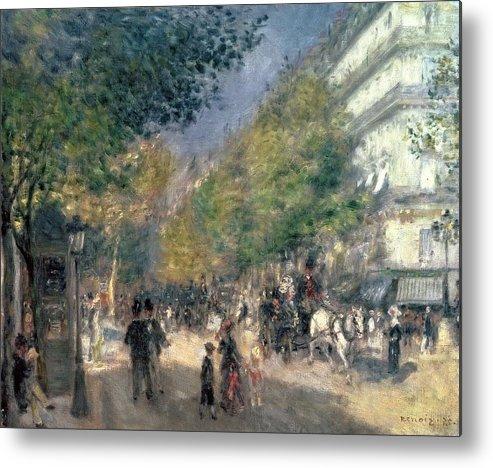 Impressionist; Paris; Haussmann; Street Scene; France; Crt Metal Print featuring the painting The Boulevards by Pierre Auguste Renoir