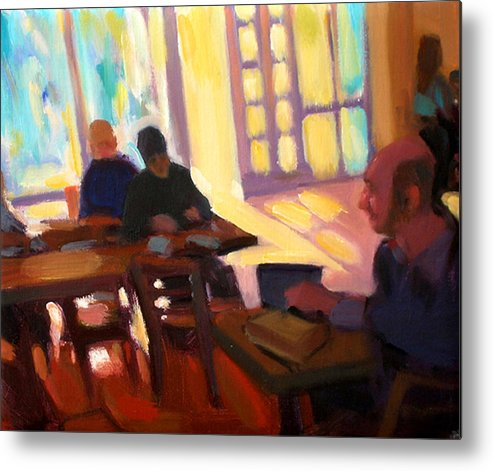 Cafe Metal Print featuring the painting The Cafe by Merle Keller