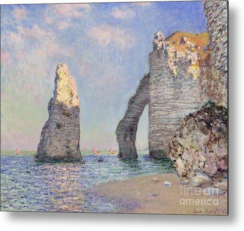The Cliffs At Etretat Metal Print featuring the painting The Cliffs At Etretat by Claude Monet