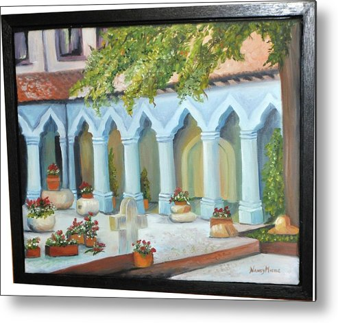 Landscape Metal Print featuring the painting The Court Yard by Nancy Miehle