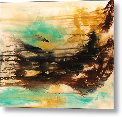 Abstract Metal Print featuring the painting The East Mist by Ofelia Uz