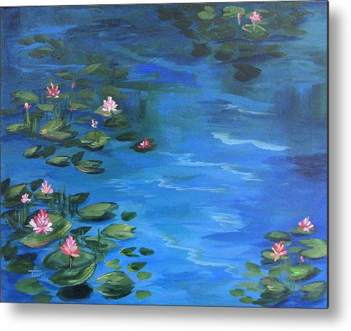 Lily Pond Metal Print featuring the painting The Lily Pond II by Torrie Smiley