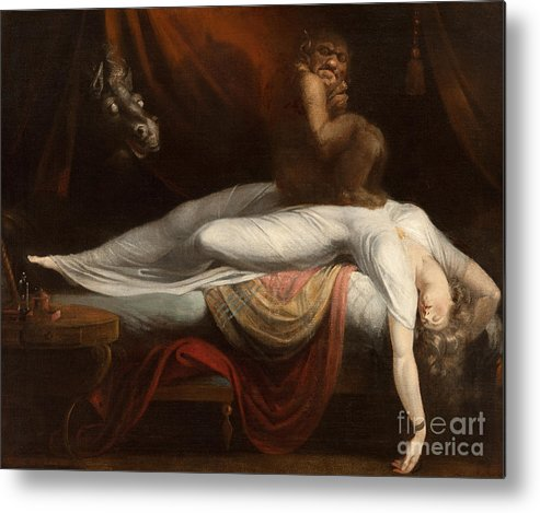 The Metal Print featuring the painting The Nightmare by Henry Fuseli