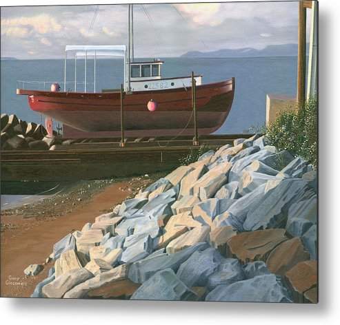 Ship Metal Print featuring the painting The Red Troller Revisited by Gary Giacomelli