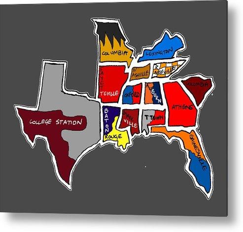 The Sec South Eastern Conference Teams Metal Print featuring the drawing The Sec South Eastern Conference Teams by Michael Garber