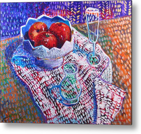 Still Life Metal Print featuring the painting Three Apples by Rollin Kocsis
