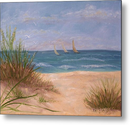 Beach Metal Print featuring the painting Three Sails by Barbara Harper