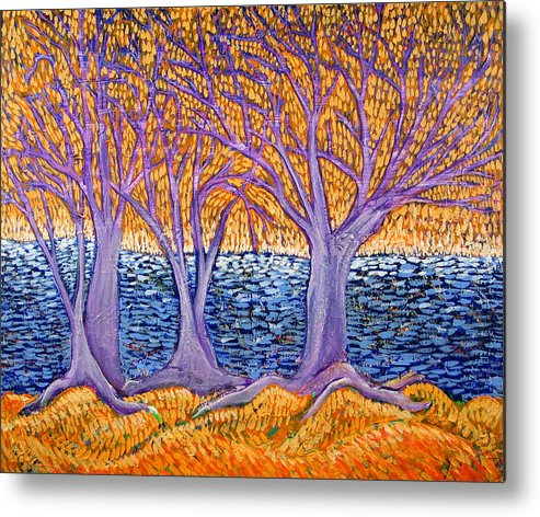 Landscape Metal Print featuring the painting Three Trees by Rollin Kocsis