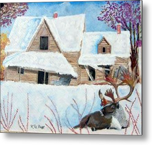 Caribou Metal Print featuring the painting Time For A Rest by Richard Le Page