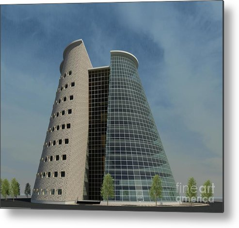 Building Rendering Metal Print featuring the digital art Truncated Building by Ron Bissett