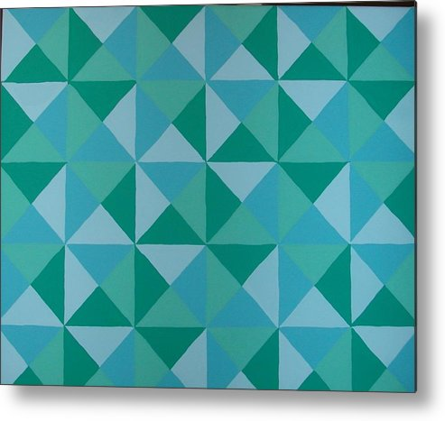 Triangles Metal Print featuring the painting Trying Any Angle by Gay Dallek