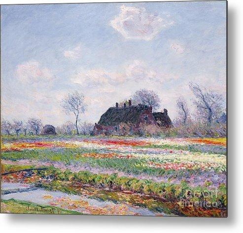 Tulip Fields At Sassenheim Metal Print featuring the painting Tulip Fields At Sassenheim by Claude Monet