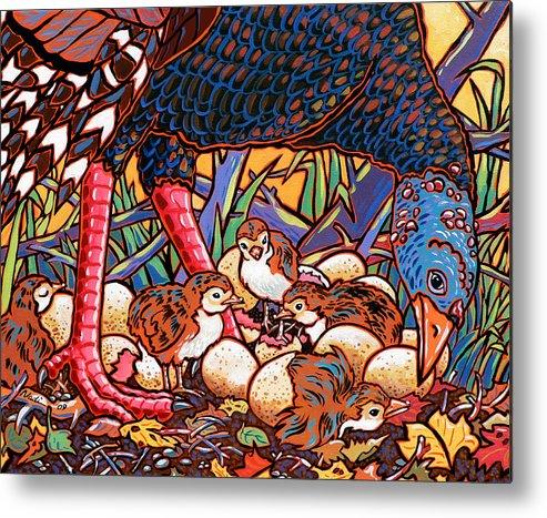 Turkey Metal Print featuring the painting Turkeys by Nadi Spencer