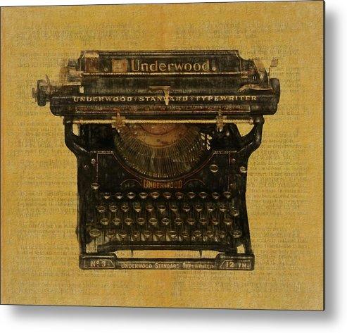 Underwood Typewriter On Text Metal Print featuring the digital art Underwood Typewriter On Text by Dan Sproul