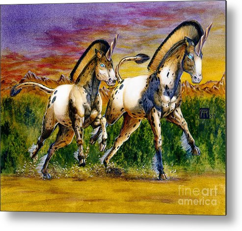 Artwork Metal Print featuring the painting Unicorns In Sunset by Melissa A Benson