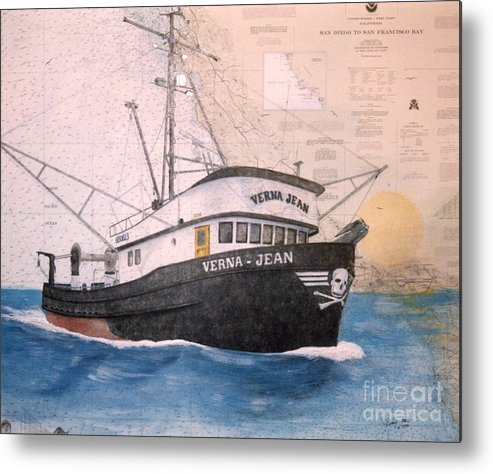 Verna Metal Print featuring the painting Verna Jean Fishing Boat Nautical Chart Map by Cathy Peek