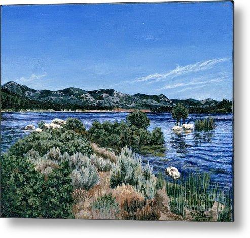 Landscap Painting Metal Print featuring the painting View Of Lake Hemet by Jiji Lee