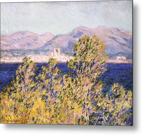 Impressionism; Impressionist; Landscape; Tree; Mountain; Wind; Sea; Ocean; Coast; Mediterranean; Cape; Gorse; Breeze; View Of The Cap D'antibes With The Mistral Blowing Metal Print featuring the painting View Of The Cap Dantibes With The Mistral Blowing by Claude Monet