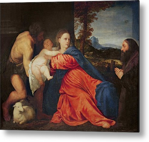 Virgin Metal Print featuring the painting Virgin And Infant With Saint John The Baptist And Donor by Titian