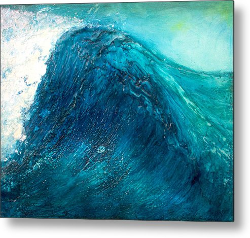 Wave Blue Wave Sea Water Seascape Rising Wave Mixed Media Encaustic Painting Original Canvas Wax Oil Metal Print featuring the painting wave X by Martine Letoile