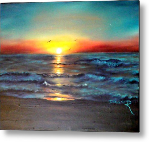 Sun Metal Print featuring the painting Wedding Sunrise On Indian Harbour Beach Florida by Darlene Green