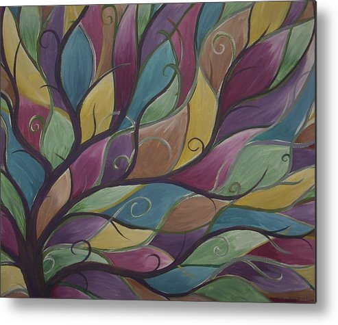Tree Abstract Landscape Nature Whimsical Metal Print featuring the painting Whimsy by Sally Van Driest