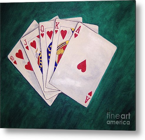 Playing Cards Wining Hand Role Flush Metal Print featuring the painting Wining Hand 2 by Herschel Fall