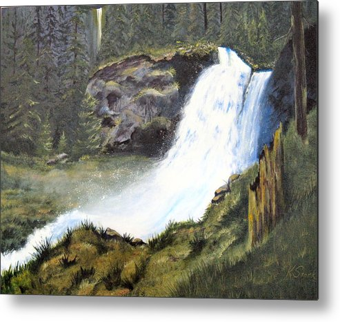 Forest Metal Print featuring the painting Woodland Respite by Karen Stark