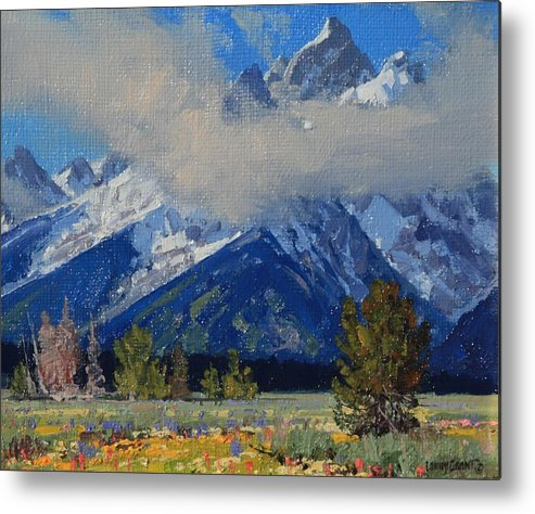 Landscape Metal Print featuring the painting Wyoming Summer by Lanny Grant
