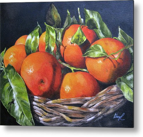 Oranges Metal Print featuring the painting You Are My Sunshine by Cheryl Bannister