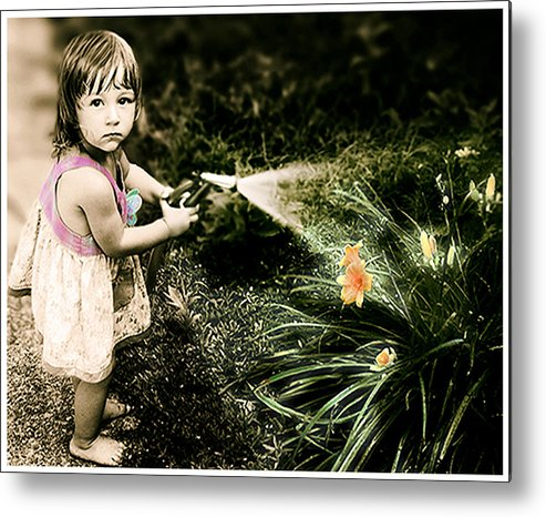 Children Metal Print featuring the photograph Zoe Waters The Flowers by Karen W Meyer