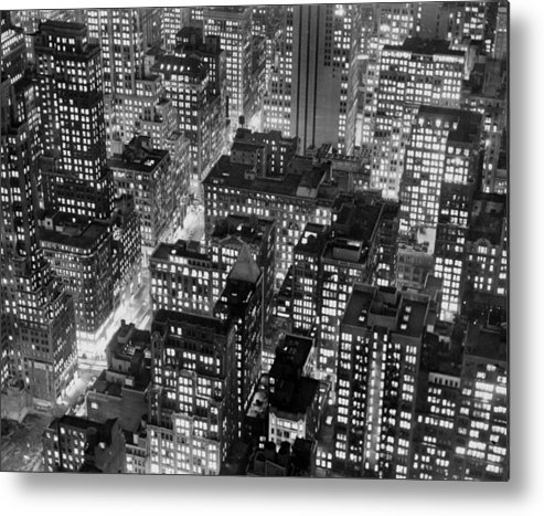 1950-1959 Metal Print featuring the photograph New York At Dusk From The Top Of The by New York Daily News Archive