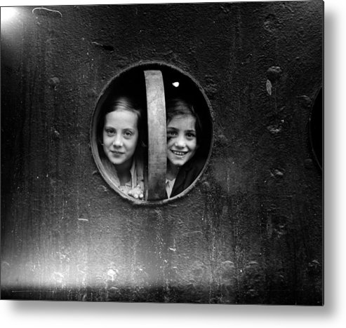 14-15 Years Metal Print featuring the photograph Porthole Girls by London Express