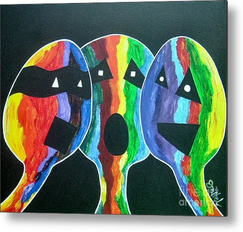 Abstract Metal Print featuring the painting 3- Head Singing Trio by JoNeL Art