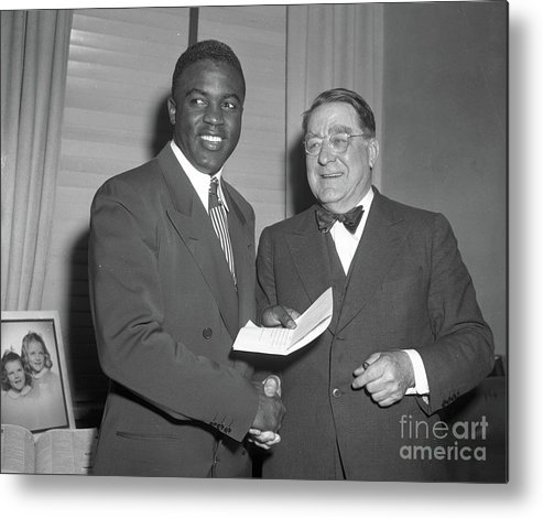 Office Metal Print featuring the photograph Jackie Robinson And Branch Rickey by Transcendental Graphics