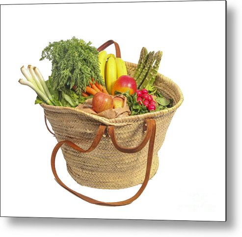 Asparagus Metal Print featuring the photograph Organic Fruit And Vegetables In Shopping Bag by Patricia Hofmeester