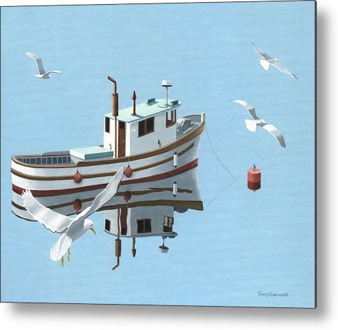 Boat Metal Print featuring the painting A Contemplation Of Seagulls by Gary Giacomelli