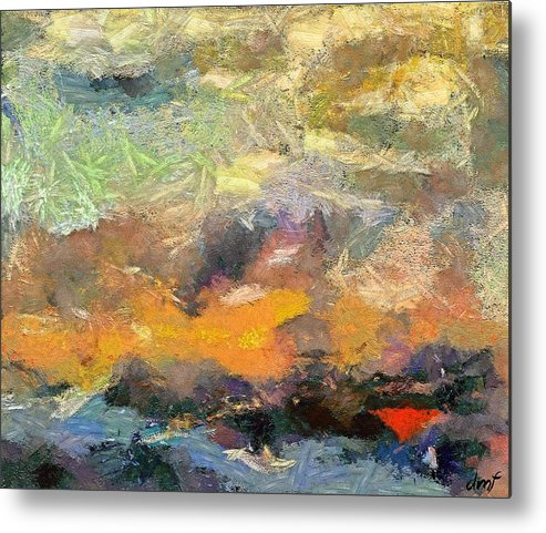 Abstract Art Metal Print featuring the painting Abstract Landscape II by Dragica Micki Fortuna